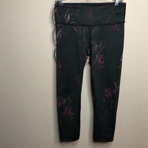Lululemon black leggings with floral design